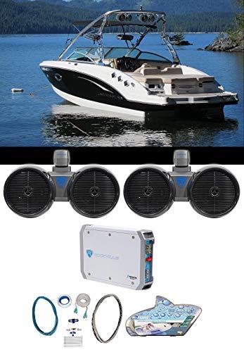 2) Rockville Dual 8' 800w Wakeboard Tower Speakers+2-Channel Amplifier+Amp Kit