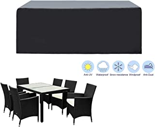 SIRUITON Funda de Muebles de Jardín Exterior Mesa de jardín y Silla Cubierta de Protección Impermeable Negro (180x120x74cm)