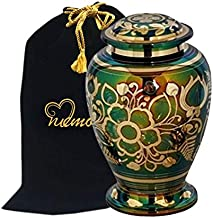MEMORIALS 4U Emerald Green Cremation Urn - Green Urn with Gold Accents - Adult Funeral Urn Handcrafted and Engraved - Affordable Urn for Ashes - Large Urn Deal.