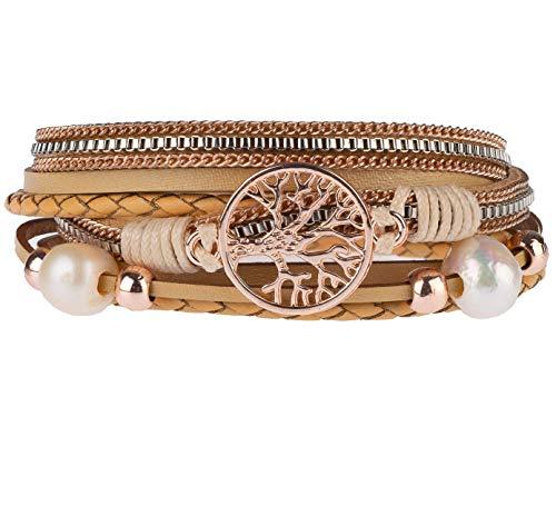 Lebensbaum Armband Damen Wickelarmband mit Perlen - Armkette mit Magnetverschluss gold (Sand, 195)