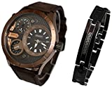 Pack Montre Homme ERNEST Gros Cadran Double Affichage Only The Brave GOURMETTE Acier Inoxydable