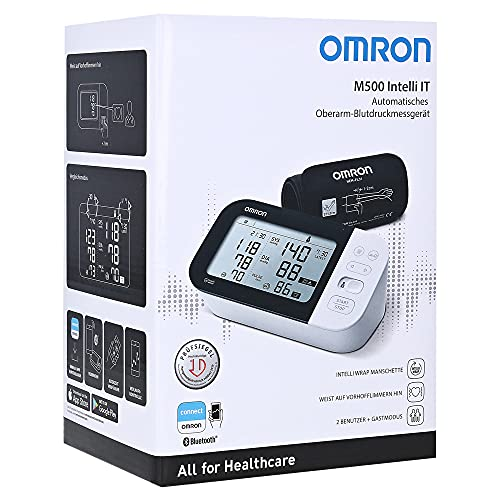 Omron M500 Intelli IT (neu 2020) Oberarm Blutdruckmessgerät, IntelliWrap Manschette (22-42cm) Speicher 2x100 + Gastmodus, Klinisch validiert