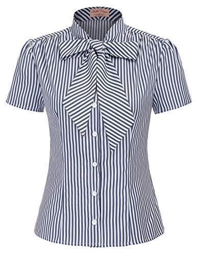 Belle Poque elegant Vintage Retro Streifen Oberteil Damen Kurzarm Tops Sommer Casual Hemd M BP573-2