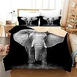 3D Elephant Bedding Duvet Cover Sets Personalized Design Elephant Bedspread Black 3 Piece Bed Set Microfiber Decoration Room Home (King-Style 2)