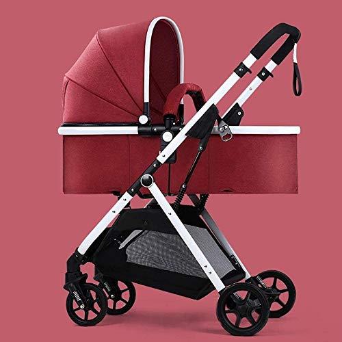 Landaus High View Poussette bébé, Poussette Buggy Compact, Portable Pram Transport Anti-Choc Poussette Fournitures pour bébé ( Color : Red )