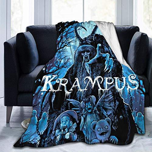 Manta de forro polar con diseño de Krampus navideño, para guardería, dormitorio, decoración de ropa de cama, tamaño queen, tamaño king, franela mullida, suave y acogedora.