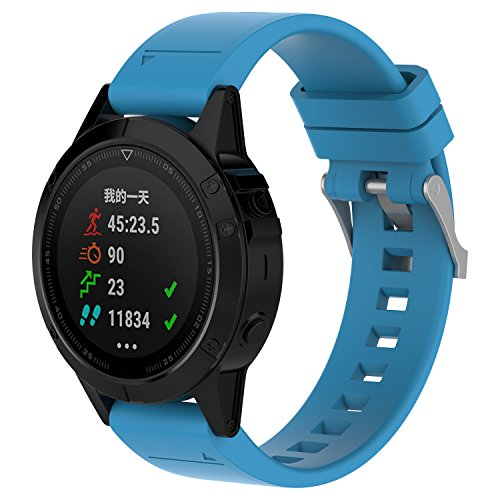 PINHEN para Garmin Fenix 5 Silicona Accesorio Banda – 22 mm fácil Ajuste Suave Silicona Reloj Correa para Garmin Fenix 5 / Fenix 5 Plus/Forerunner 935 / Aproach S60 / Quick Fit / Quatix5