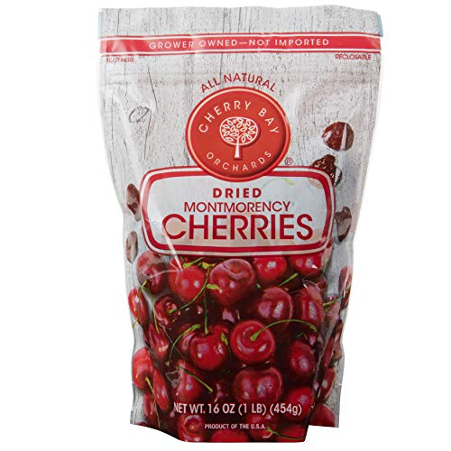 Cherry Bay Orchards - Dried Montmorency Tart Cherries - 16 oz Bag 100% Domestic, Natural, Kosher Certified, Gluten-Free, and GMO Free - Packed in a Resealable Pouch