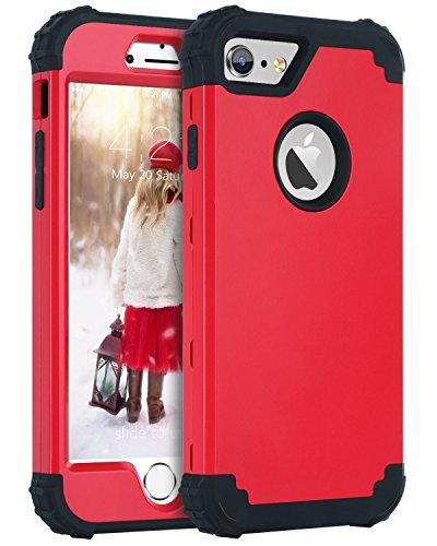 BENTOBEN Coque iPhone 6, Etui de Protection iPhone 6S, Housse de Protection Résistante Durable Hybride 3 en 1 Hybride PC Dur + Silicone Molle Robust Antichoc pour iPhone 6/6s(4,7''), Rouge & Noir