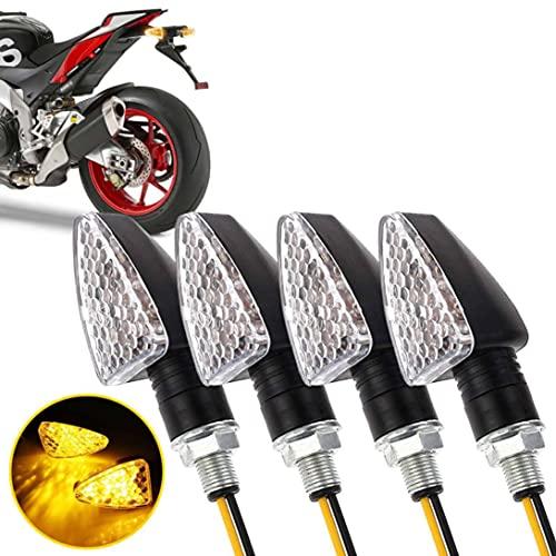 Greluma 4 Piezas Motocicleta 15 LED Intermitentes Indicadores ámbar Luz de giro 12V Mini Intermitente impermeable para motocicleta (Nueva versión)
