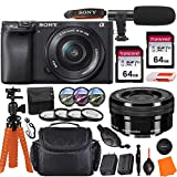 Sony Alpha a6400 Mirrorless Digital Camera with 16-50mm Lens & Pro Accessory Bundle incl. 2X 64GB Transcend Memory Card, Gadget Bag, UV-CPL-FLD Filters and Macro Kits and More