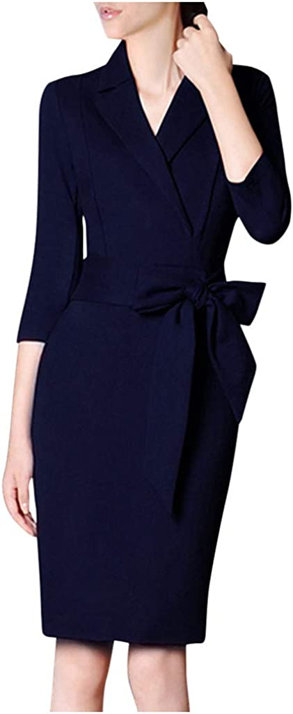 Mikey Store Women Notched Neck Slim 3/4 Sleeve Splice Bow Business Formal Work Pencil Dress