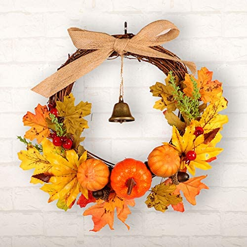 Nuxn 12inch Front Door Fall Wreath with Christmas Bell, Bow, Pumpkin, Maple Leaves, Berry Clusters Artificial Autumn Fall Harvest Thanksgiving Wreath on Twig Base for Home Office Window Decor
