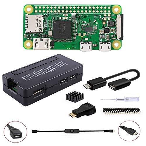 GeeekPi Raspberry Pi ZERO W Basic Starter Kit - Incluye estuche Raspberry Pi ZERO W (inalámbrico) y acrílico Raspberry Pi Zero W (negro)