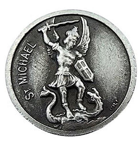 Médaille de poche Saint Michel avec base argentée - 3,8 cm