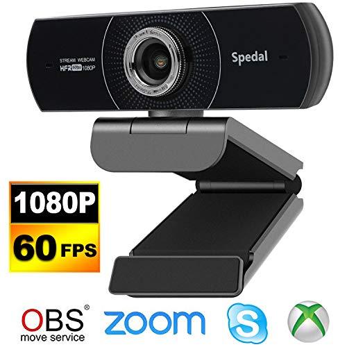 Spedal Webcam 60fps 1080P HD PC Web Kamera Streaming OBS Gaming Webcam Manual Focus USB Webcam mit Mikrofonen Desktop oder Laptop-Webkamera für Skype Facebook Kompatibel für Mac Windows