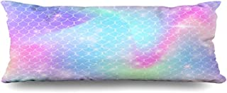 Ahawoso Zippered Body Pillow Cover 20x60 Inches Blue Candy Rainbow Scales Kawaii Mermaid Princess Nature Pink Color Coloring Confetti Cosmic Cute Decorative Cushion Case Home Decor Pillowcase