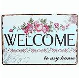 kentop Retro Cartel de chapa Welcome Póster Publicidad Pared–Rótulo para puerta (para bar Cafe Home pared decoración