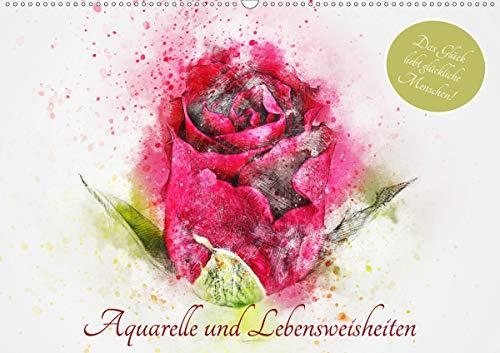 Aquarelle und Lebensweisheiten (Wandkalender 2021 DIN A2 quer)
