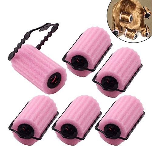 EQLEF® Lockenwickler Schwamm DIY lockenwickler Set Haar Lockenwickler Klein Magic Lockenwickler Rollen Foam Rollers (Rosa) - 6 Stücke