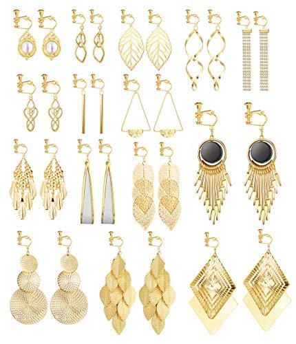 Florideco 15 Pairs Clip on Earrings for Women Fashion Celtic Knot Dangle Earrings Long Bar Earrings Leaf Tear Drop Earrings Tassel Statement Clip-onEarrings Non Piercing Earrings Gold Tone