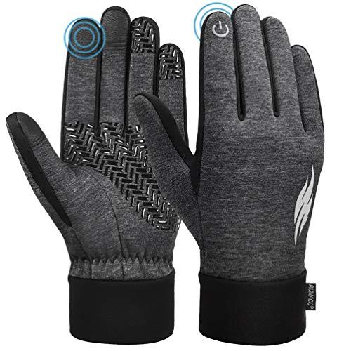 RUNACC Touchscreen Winter Handschuhe Verdickte Winterhandschuhe Laufhandschuhe Outdoor Fahrradhandschuhe Sporthandschuhe Vollfinger Handschuhe für Damen und Herren(Grau M)