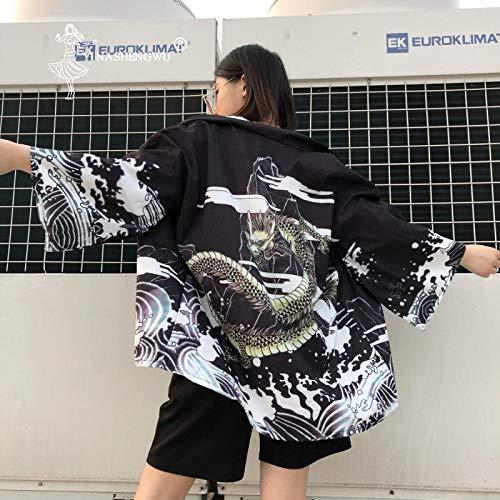 Cosplay Traje Tradicional Kimono Japonés Yukata Kimono Hombres Kimono Japón Cardigan Ropa Asia Kimono Las Mujeres del Estilo De Japón Haori Zzzb (Color : White, Size : M)