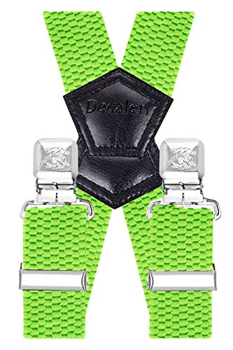 Decalen Hosenträger für Herren Breit 4 cm mit sehr Starken 4 Metall Clip Lang Einheitsgröße für Männer und Damen Einstellbar und Elastisch X Style (Grün Neon)
