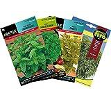 Pack Semillas Aromáticas, Surtido de Semillas, 4 Variedades para Plantar, Set de Semillas Aromáticas para Huerto