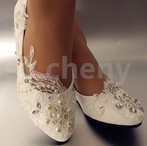 JINGXINSTORE Lace White Crystal Hochzeit Schuhe Braut-, UK 7,5, Weiß