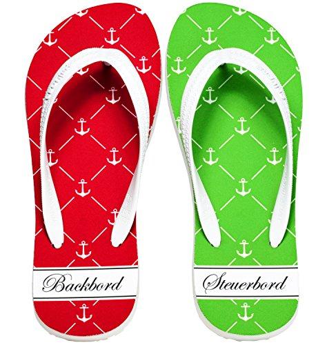 Palupas Geschenk zur Bootstaufe | Schffstaufe Motiv Backbord Steuerbord II inkl. maritimen Schuhbeutel
