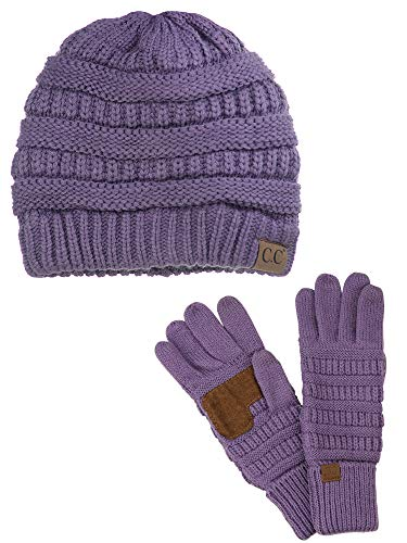 C.C Unisex Soft Stretch Cable Knit Beanie and Anti-Slip Touchscreen Gloves 2 Pc Set, Violet