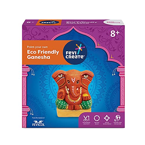 Pidilite Fevicreate Paint Your Own Ganapati Idol, DIY Ganesha Kit, Eco-Friendly Murti made from Water Soluble Natural Clay - Gift for kids above 8 years