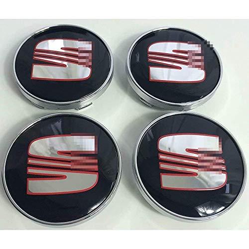 Coche 4 Piezas 60mm,Tapas centrales Aleación Tapacubos con Emblema De Insignia Embellecedor Central De Llanta De Rueda Cubre Accesorios, para Seat