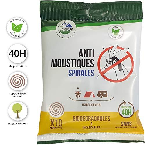 TERRA NOSTRA Spirales Anti-moustiques biodégradables-Sachet x10, Vert