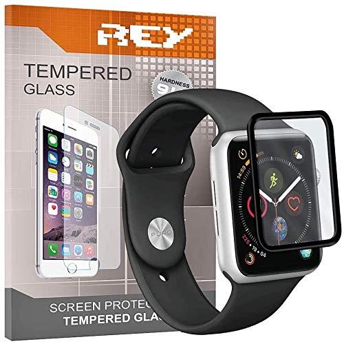 2X Protector de Pantalla 3D para Apple Watch Series 6 - Series 5 - Series 4 - SE de 44mm, Negro, Protección Completa, 3D / 4D / 5D