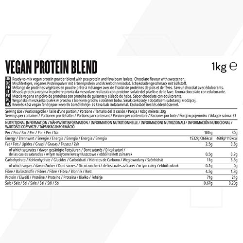 MyVegan Protein Blend by MyProtein. Natural Vegan Protein Powder with 5g of BCAAs. Great Tasting Chocolate Flavoured Plant Based Pea Protein. Gluten-Free and Low in Sugar - 1kg (33 Servings)