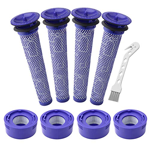 Lemige 4 Paquetes de prefiltros y 4 Paquetes de repuestos HEPA Post Filtro compatibles con Dyson V7, V8 Animal y Absolute aspiradora inalámbrica, en comparación con la Parte 965661-01 y 967478-01