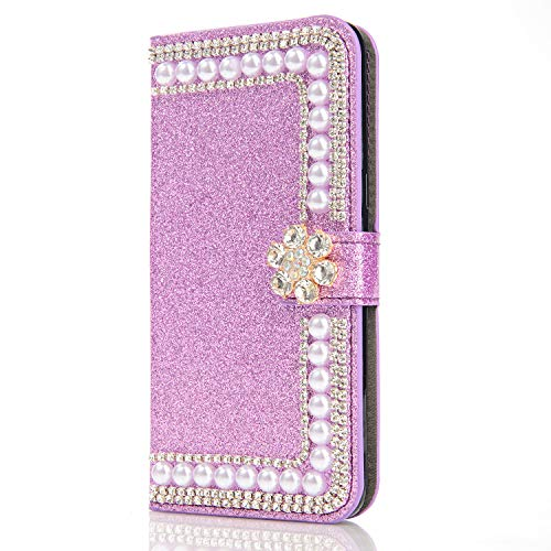 WANYINGLIN Stunning Diamond Compatible with Samsung A21S,Bling Leder Leather Hülle Sparkle Glitter Book Amazing Wallet Flip Kickstand Magnet with Girl Card Slot Holder