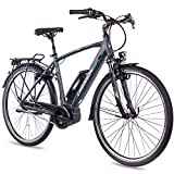 CHRISSON - Bicicleta eléctrica de 28 pulgadas para hombre de trekking y ciudad, color antracita mate, para hombre – 7 marchas Shimano Nexus – Pedelec con motor central Bosch Active Line 250 W, 40 Nm