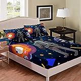 Tbrand Juego de sábanas y fundas de almohada para niños, espacio exterior, planeta, tierra, luna, sol, 3 piezas, decoración de ropa de cama, diseño cósmico de dibujos animados