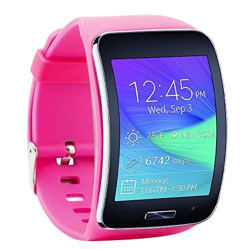 Molitececool Compatibel met Samsung Galaxy Gear S R750 Smart Watch Vervangende Polsband Armband/Gratis Size Draadloze Smartwatch Accessoire Band Band Band Met Veilige Gesp, roosrood