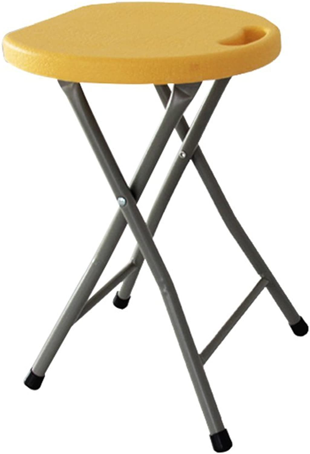 Chair  folding stool, household dining table and chair, bar stool metal portable barbecue stool super load bearing plastic stool (color   Yellow)