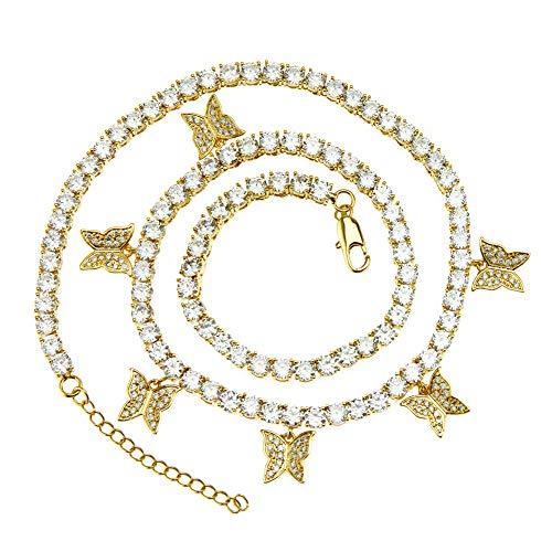 WANZIJING Mariposa de CZ con la Cadena de Ping Pong, Totalmente hacia Fuera Helado Collar de Diamantes simulado Hip Hop 16'' joyería Hombres Mujeres,Oro