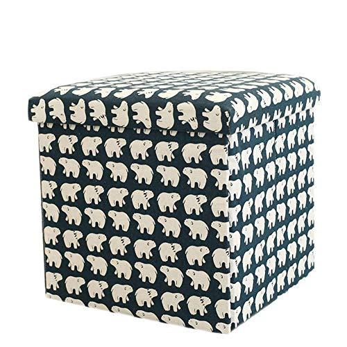 HKX Cubo otomano de Almacenamiento Plegable, reposapiés de Tela de Lino Caja de Almacenamiento Plegable Multiusos con Tapa extraíble Taburete de reposapiés Mesa de Centro -A 30cm (12 Pulgadas)
