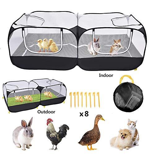 Ksruee Gallinero portátil para gallinas, 73 25 pulg. Gran Pluma de Pollo emergente Plegable Grande para Jaula de Conejos Animales pequeños, recinto para Mascotas al Aire Libre Conejo al Aire Libre