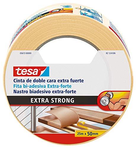 tesa TE05672-00000-11 Cinta Doble Cara Extra Fuerte 25m x 50mm Beige, incoloro