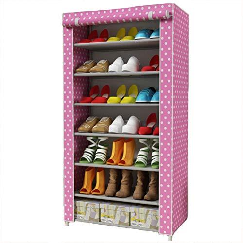 Wanforjewellery 7 Faltschrank Schuhständer, Staubdichtes Stoffschuhschrank Stoffschrank Schuhe, 125 * 60 * 30cm,pink