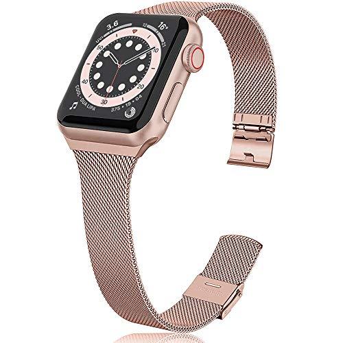 jwacct Bands, Adjustable Magnetic Stainless Steel Bracelet Mesh Strap Sport Loop, Pink Gold