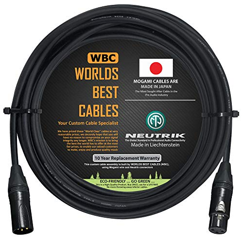 20 Foot – Quad Balanced Microphone Cable Custom Made by WORLDS BEST CABLES – Using Mogami 2534 Wire and Neutrik NC3MXX-B Male & NC3FXX-B Female XLR Plugs.
